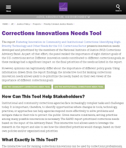 Corrections Innovations Needs Tool Cover