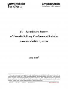 › 51-Jurisdiction Survey of Solitary Confinement Rules in Juvenile Justice Systems Cover
