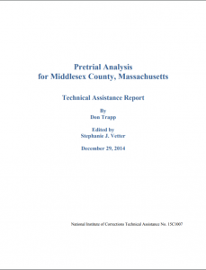 Pretrial Analysis for Middlesex County, Massachusetts Technical Assistance Report and Addendum cover