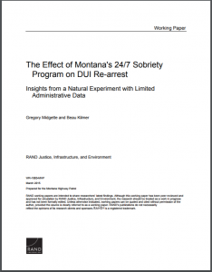 The Effect of Montana's 24/7 Sobriety Program on DUI Re-arrest Insights from a Natural Experiment with Limited Administrative Data Cover