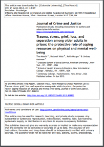 Trauma, Stress, Grief, Loss, and Separation among Older Adults in Prison: The Protective Role of Coping on Physical and Mental Wellness Cover