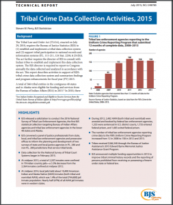 Tribal Crime Data Collection Activities, 2015 Cover