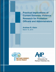 Practical Implications of Current Domestic Violence Research for Probation Officers and Administrators Cover