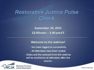Pulse Check: Restorative Justice Cover
