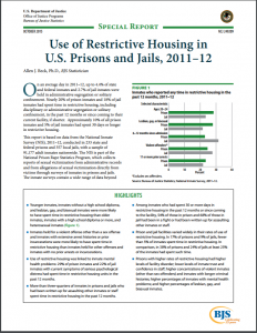 Use of Restrictive Housing in U.S. Prisons and Jails, 2011-12 Cover