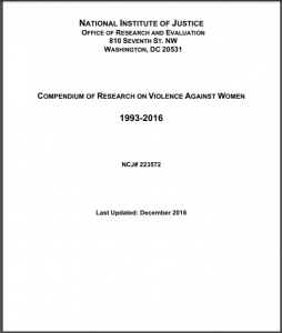 Crime, Violence & Victimization Research Division's Compendium of Research on Violence Against Women, 1993-2014 Cover
