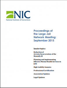 Proceedings of the Large Jail Network Meeting Aurora, Colorado, September 28-29, 2015 cover