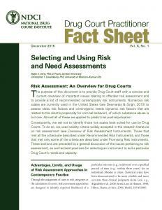 Selecting and Using Risk and Need Assessment Cover