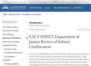 FACT SHEET: Department of Justice Review of Solitary Confinement Cover