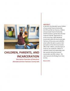 Children, Parents, and Incarceration: Descriptive Overview of Data from Alameda and San Francisco County Jails Cover