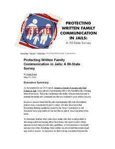 Protecting Written Family Communication in Jails Cover